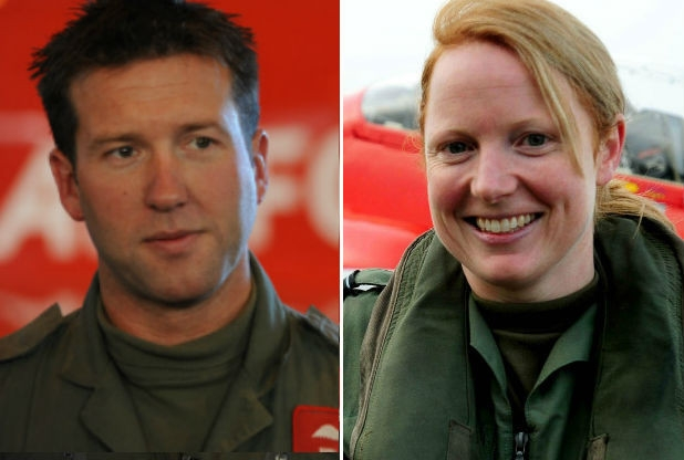 Ex-leader Ben Murphy and Kirsty Stewart, the first female Red Arrows pilot