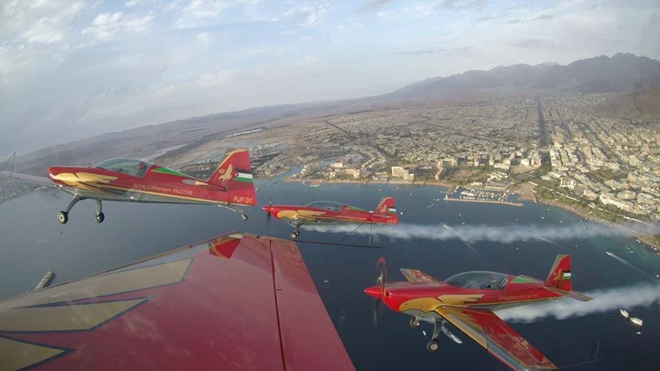 Royal Jordanian Falcons Extra 330LX at the first official display at Aqaba carnival 2018. Photo teams facebook page