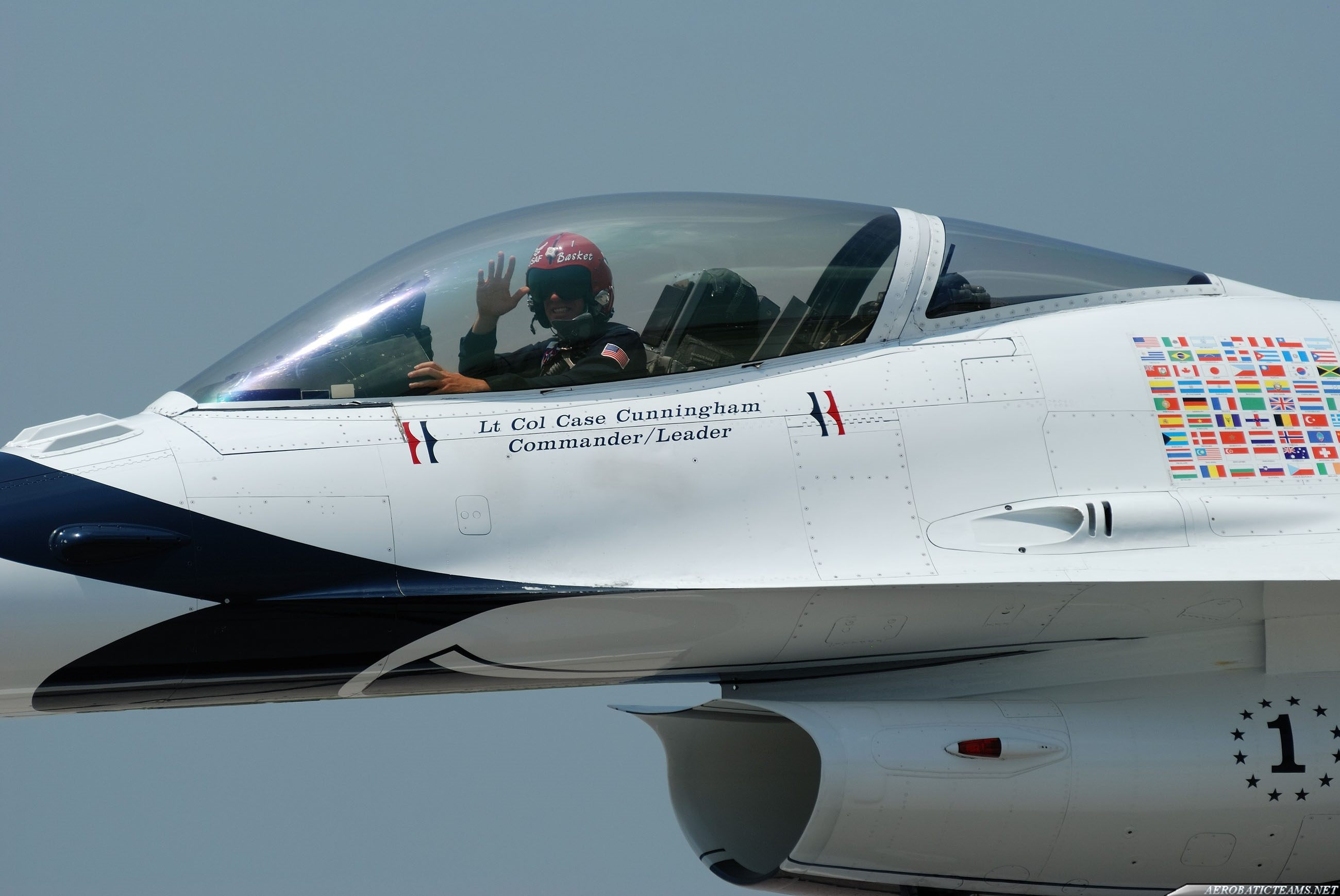Thunderbirds leader Lt. Col. Case Cunningham greetings the public.