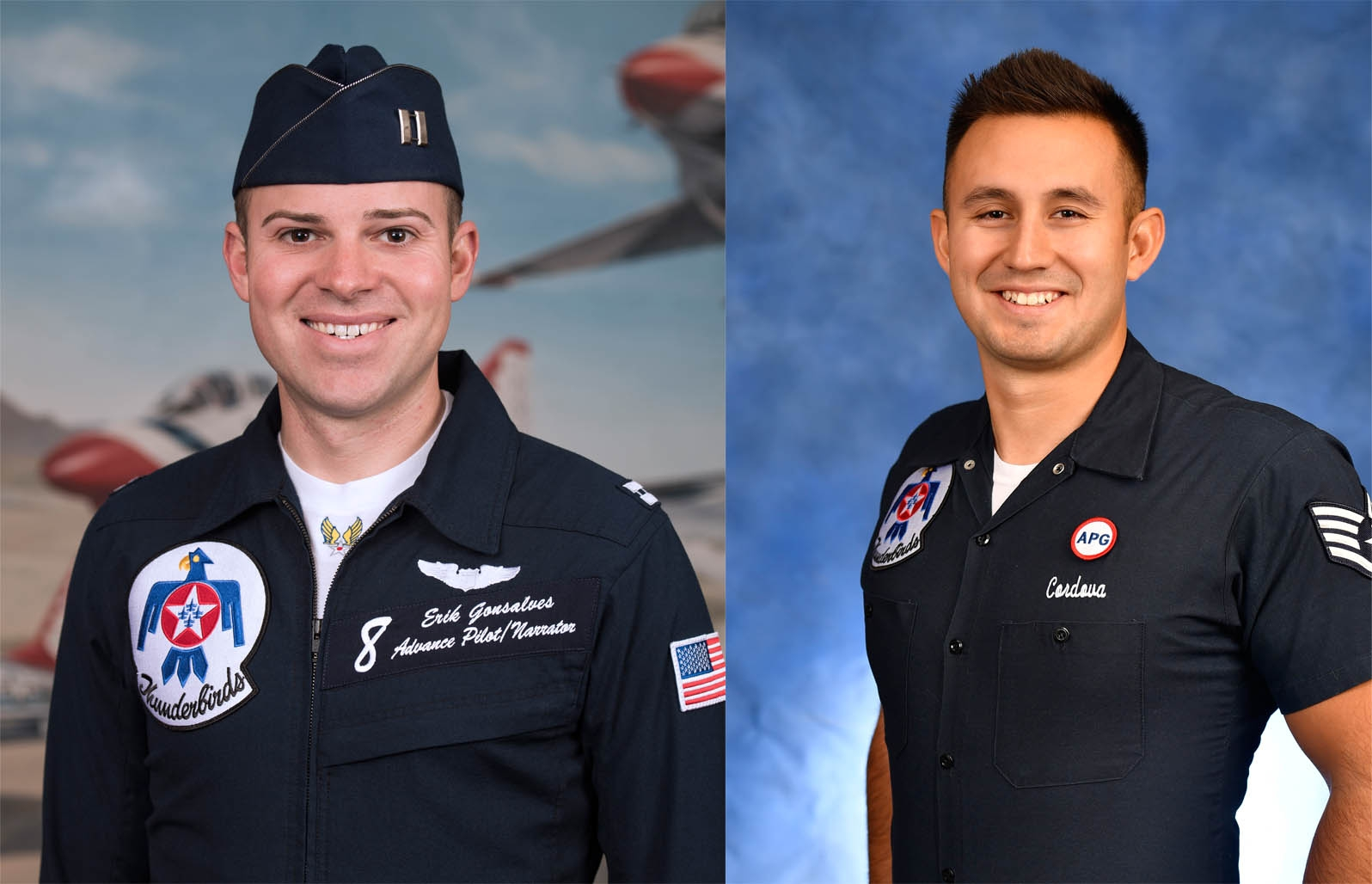 Pilot No.8 Capt. Erik Gonsalves and Tech. Sgt. Kenneth Cordova