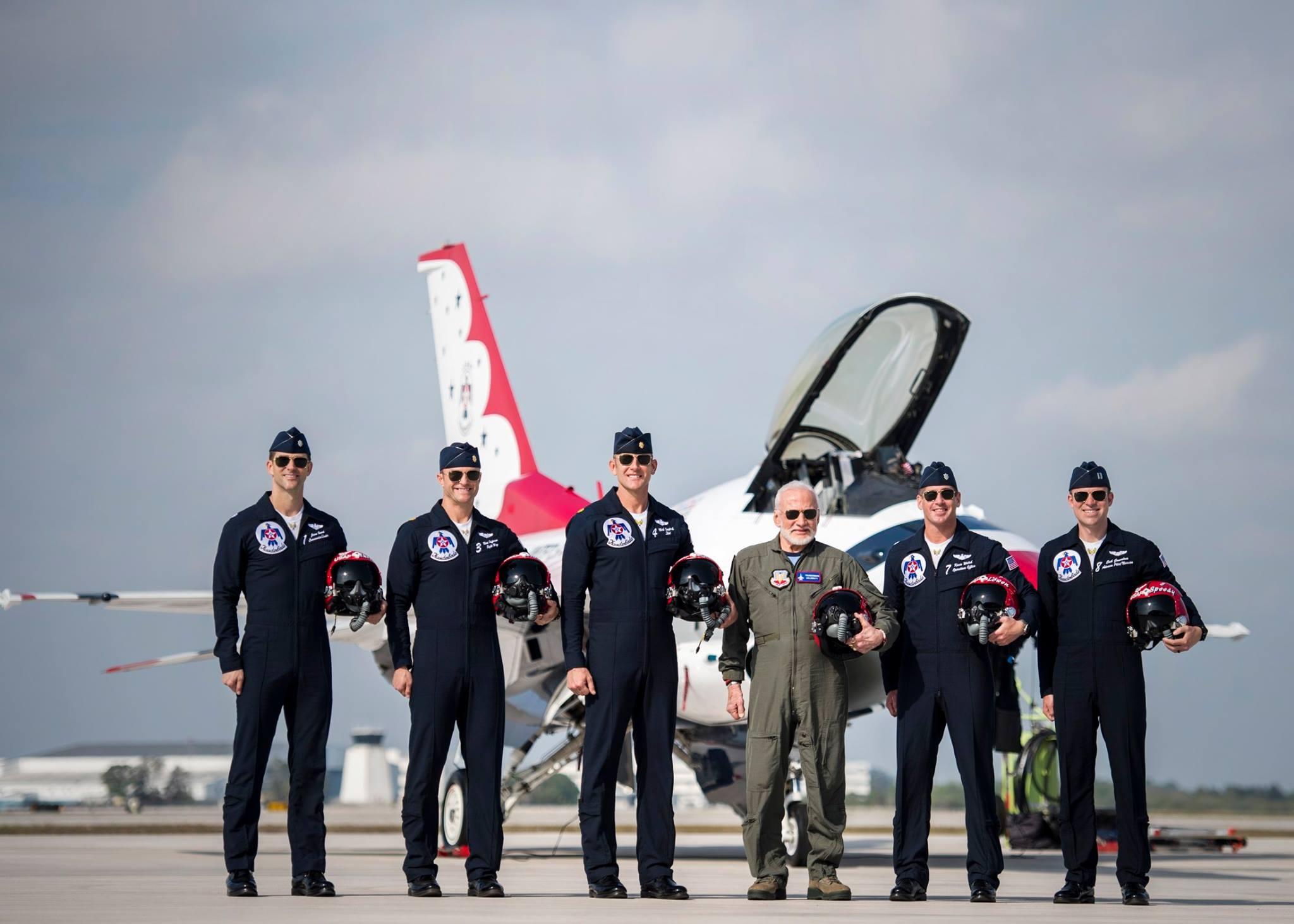 Buzz Aldrin with Thunderbirds pilots. Photo USAF