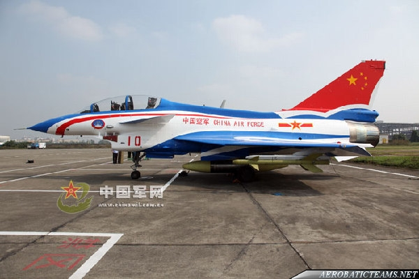 This was the first J-10 painted as an August 1st plane for promote the new team's aircraft at the end of 2009, but this livery was later changed.