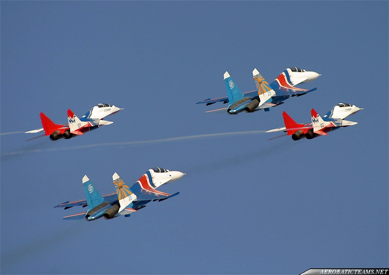Russian Knights and Swifts in joint flight