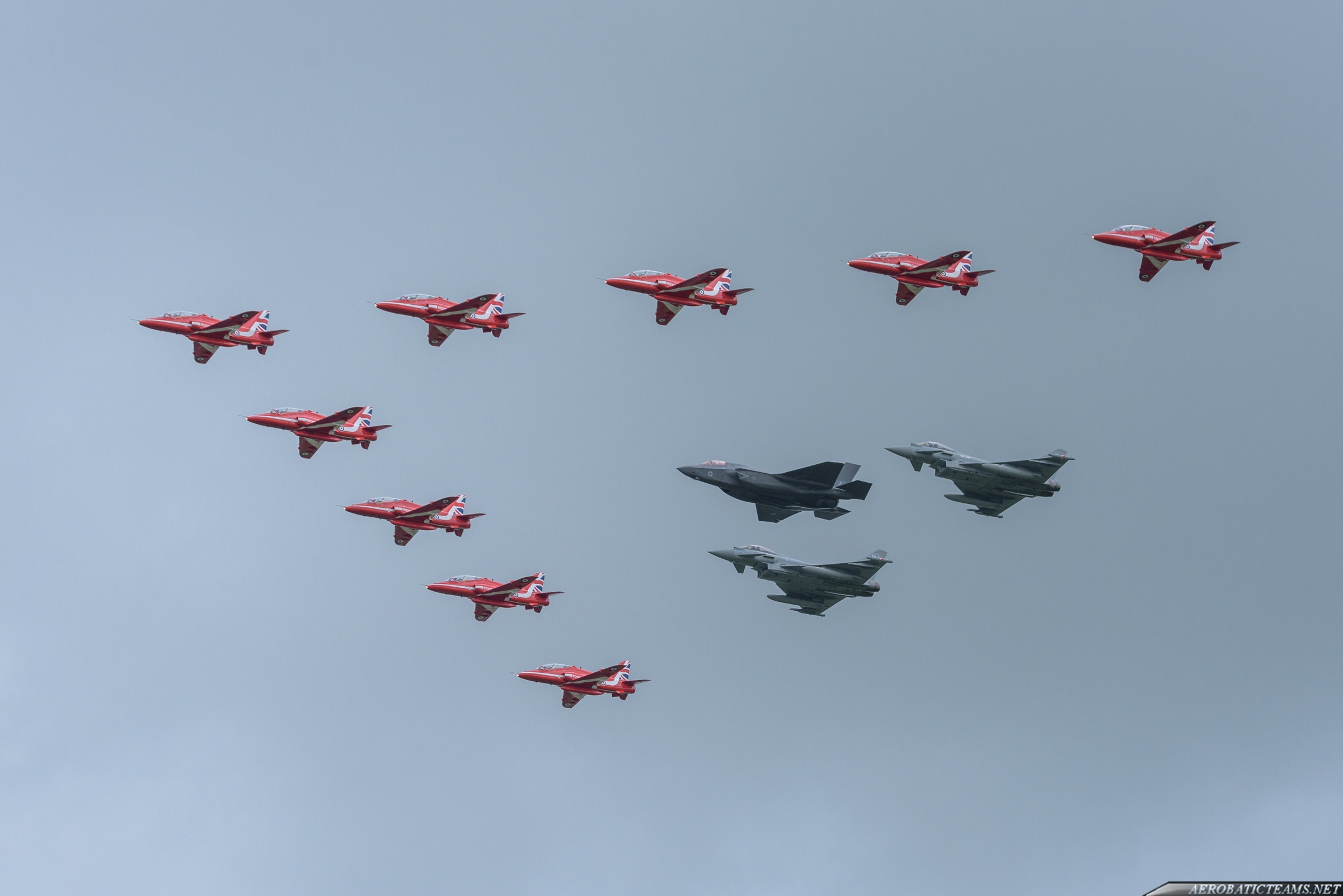 Red Arrows in formation with RAF Typhoons and F-35 at RIAT 2016