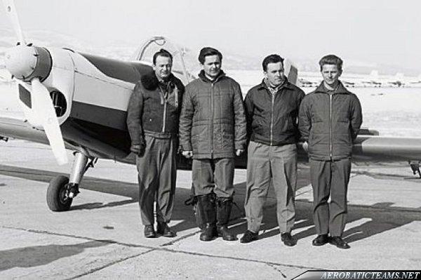 Pilots of Box Trener in front of Zlin 526