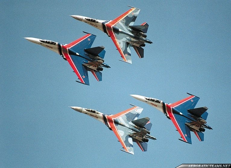 Russian Knights Su-27s in two different color schemes