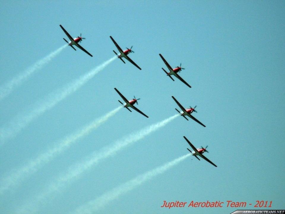 Jupiter Aerobatic Team KT-1B in six ship formation.