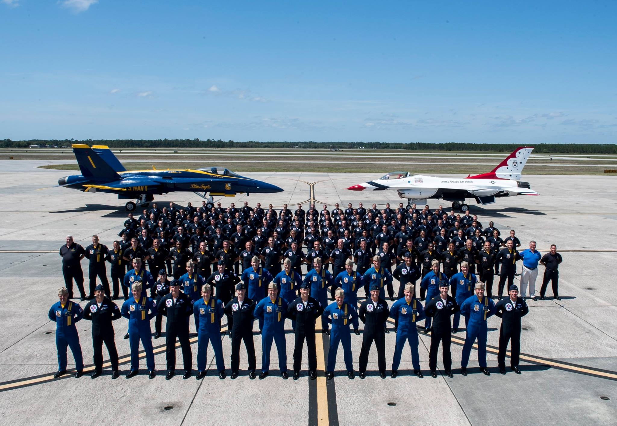 Thunderbirds and Blue Angels Squadrons at Pensacola. Photo USAF