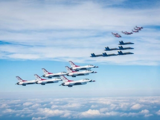 Snowbirds, Thunderbirds and Blue Angels in formation flight