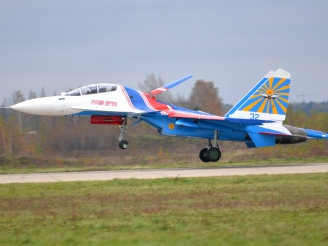 Russian Knights first four Su-30SM landed at Kubinka