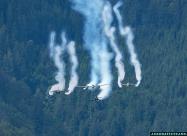 Red Bull formation - P-38 Lightning, F4U-4 Corsair and Alpha Jets