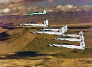 Thunderbirds T-38 in formation with #7 as a photo chase. Photo by Michael Jacobssen