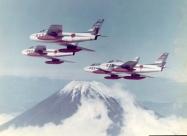 Blue Impulse F-86F Sabre over Mount Fuji