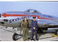 Skyblazers F-80B Shooting Star. From right Crew Chief Sgt. R.W. Kamm and Lt. C.A. Pattillo