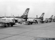Skyblazers F-86F Sabre. 1954 Chaumont Airbase, France. Photo via Henk Scharringa