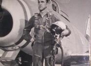 Skyblazers F-86F Sabre. Lt. Hulen A. Burk Jr, Chaumont Airbase, 1955