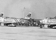 Skyblazers F-86F Sabre. 1956, Bitburg airbase, Germany paint scheme. Photo from Chaumont US memory facebook page.