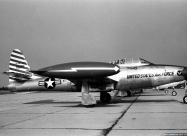 Skyblazers F-84E Thunderjet. Detroit Airshow in Aug 1952. Photo by Wm J Balogh Sr