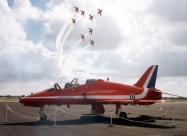 Red Arrows Folland Gnat over team next aircraft the Hawk