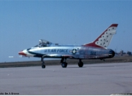 Thunderbirds F-100D Super Sabre. April 1968 at McConnell AFB, KS. Photo from Ben A. Brown