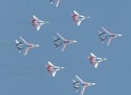 Russian Knights Su-27 and Swifts MiG-29 in joint formation flight named Kubinka Diamond.