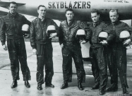 Skyblazers F-84G Thunderjet. 1953 Chaumont Airbase, France. 86th FBW pilots from left to right: Capt. Alexander Butterfield, right wing; Lt. Martin Detlie, slot; Maj. Robert Tomlinson, leader, Lt. Milton Byron, left wing; Lt. Hal Cross, alternate. Photo b