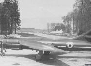 Red Devils Hawker Hunter F.6. Photo by A/1c DWM at Hahn AB Germany in May 1960