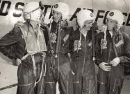 Skyblazers F-84E Thunderjet pilots. From left to right Buck Pattillo, Dag Damewood, Bill Pattillo, Harry Evans