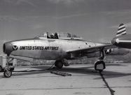 Skyblazers F-84E Thunderjet of Harry Evans. Detroit Airshow in Aug 1952