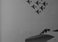 Nine-ship team with Hawker Hunter F.6 flying over USAFE Skyblazers. Later four of them became Red Devils