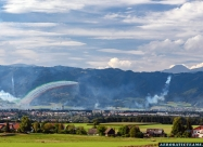 Frecce Tricolori display from far away, photographed when I go back to Slovenia, somewhere around Allersdorf.