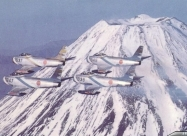 Blue Impulse F-86F Sabre in 1960 livery over Mount Fuji