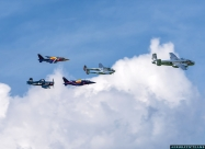 Red Bull formation - B-25 Mitchell, P-38 Lightning, F4U-4 Corsair and Alpha Jets