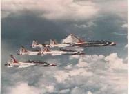 Thunderbirds T-38 Talon formation leaded by Thunderbirds F-100F Super Sabre