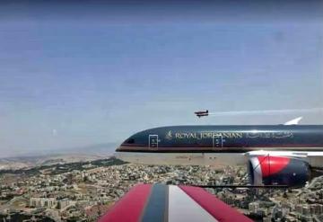 Royal Jordanian Falcons and 787 Dreamliner over Amman