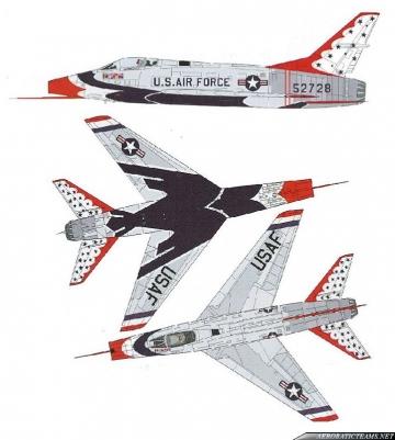 Thunderbirds F-100C Super Sabre paint scheme