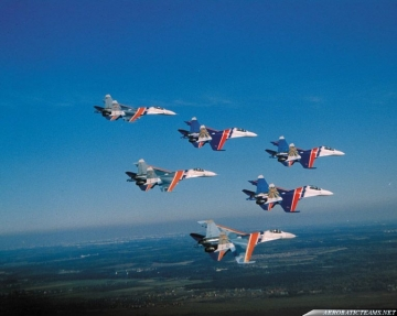 Russian Knights in six-ship formation in 90's
