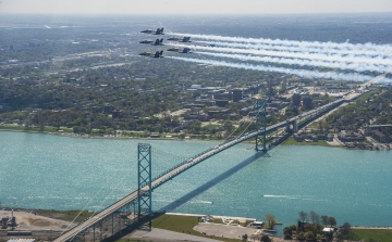 Blue Angels at Detroit flyover on May 12. U.S. Navy photo by LTjg Chelsea Dietlin/Released