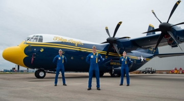 New Fat Albert C-130J with the new paint scheme. Photo US NAVY