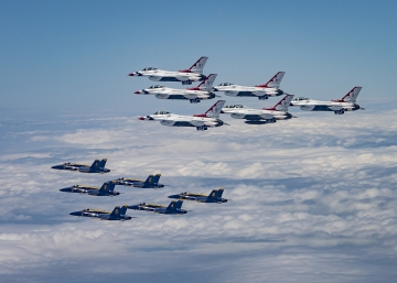 USAF Thunderbirds & USN Blue Angels Perform America Strong Flyover, by SSgt Cory Bush